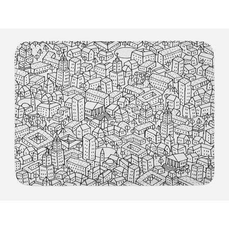 Doodle Bath Mat Crowded Urban Life Depiction In A Simple Black And White Drawing