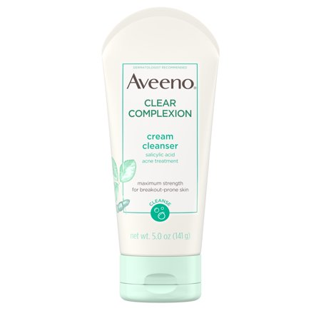 Studded Acid Wash - Aveeno Clear Complexion Cream Cleanser with Salicylic Acid, 5 fl. oz