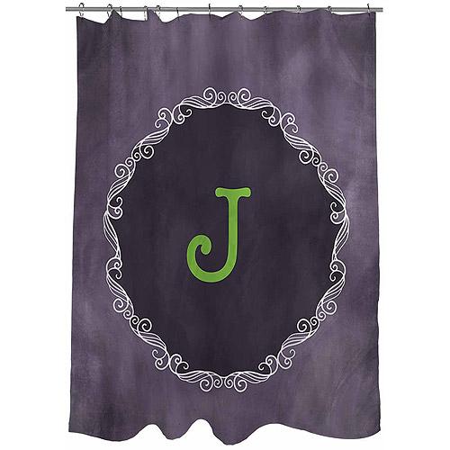 MWW, Inc. Thumbprintz Chalkboard Scroll Monogram Shower Curtain, Purple