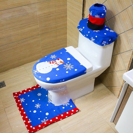 Yosoo 3pcs Lovely Christmas Snowman Toilet Seat Cover Rug Set Home
