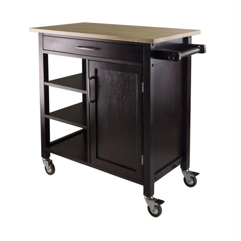 Pemberly Row Kitchen Cart in Beech Espresso Finish