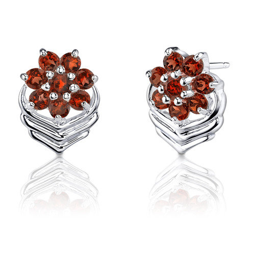 Oravo 1.75 Carats Round Cut Garnet Earrings in Sterling Silver