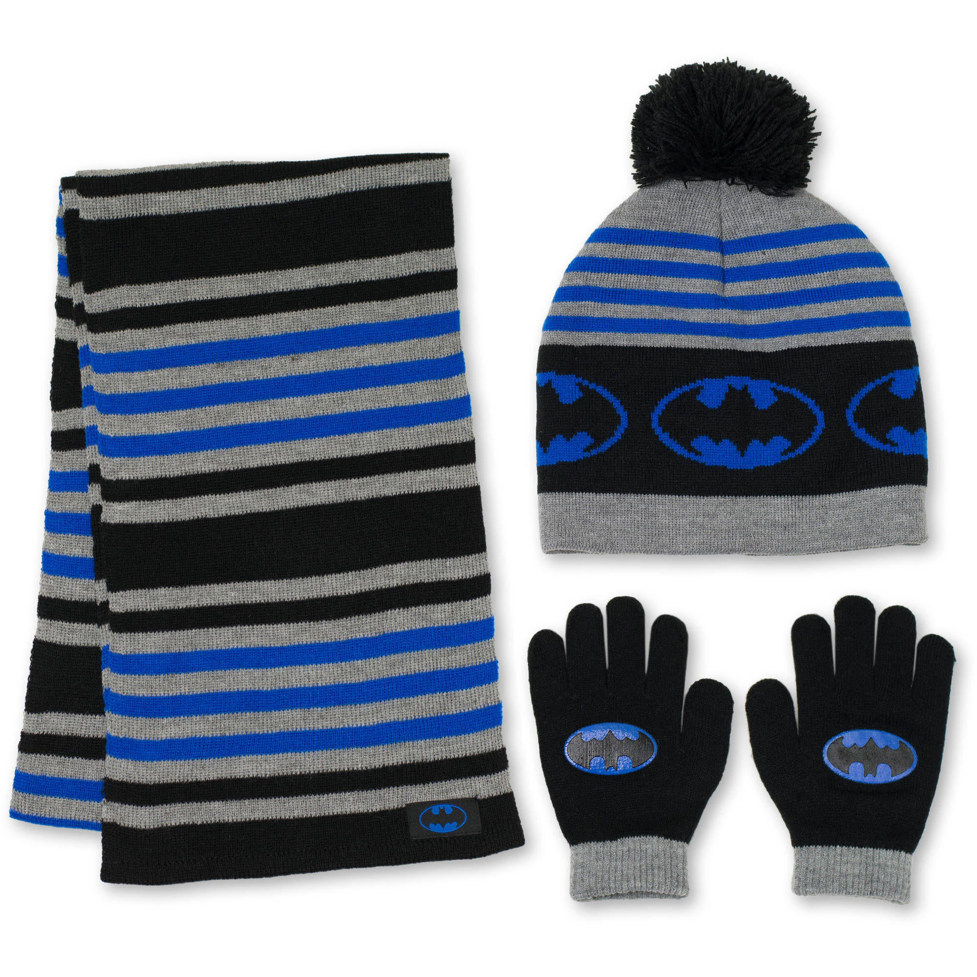 Batman 3Pc Hat, Glove, Scarf Set