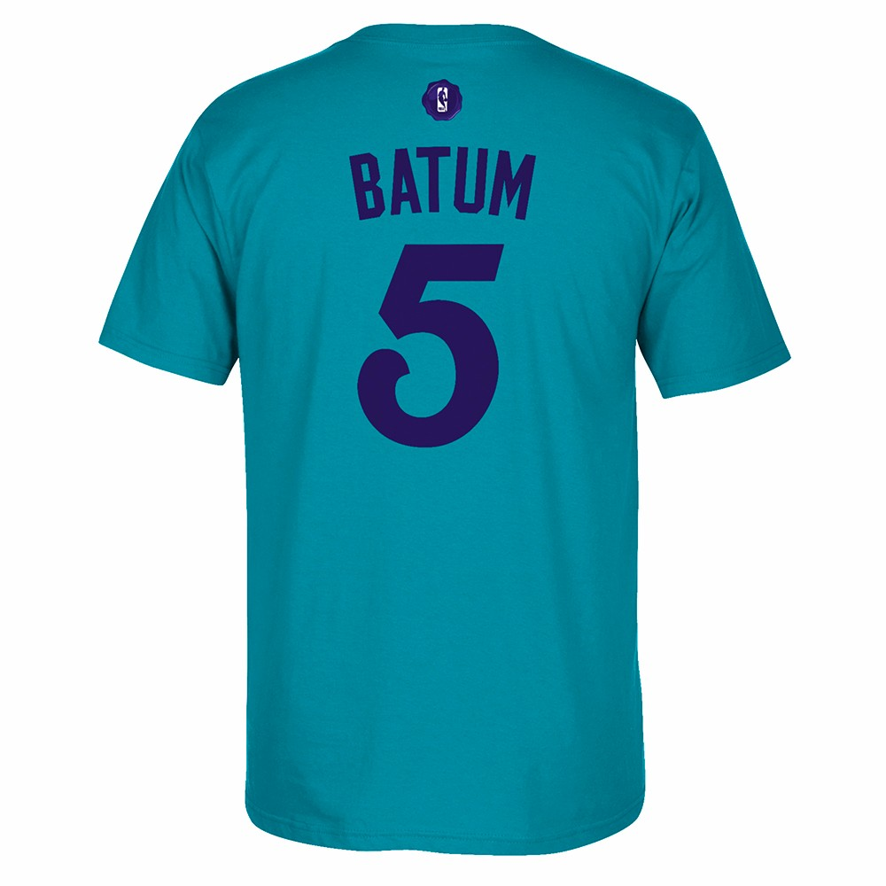 Nicolas Batum Charlotte Hornets NBA Adidas Teal Name & Number Player Jersey Team Color T-Shirt For Men