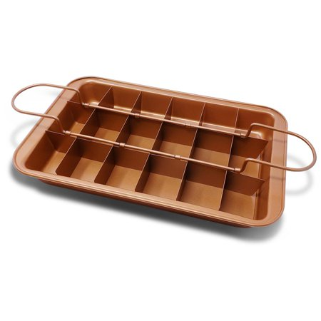"FGY Brownie Pan Copper Steel Non-stick Baking Pan with Built-In Slicer, Ensures Perfect Crispy Edges, Coating Oven Kitchen Cake Cookie Pan 12.4""L*7.9""W*1.5""D"
