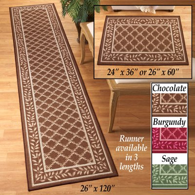 - Collections Etc Two-tone Leaf Lattice Rug, Chocolate, 24