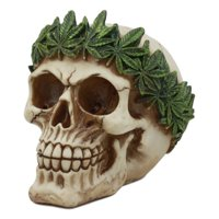 "Ebros Pot Head Skull Statue 6""Long Gothic Skull With Weed Leaf Laurel Resin Figurine Halloween Party Centerpiece"