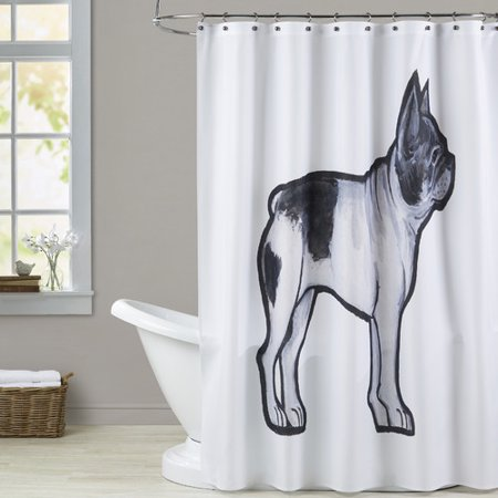 Brayden Studio Carle French Bulldog Single Shower Curtain