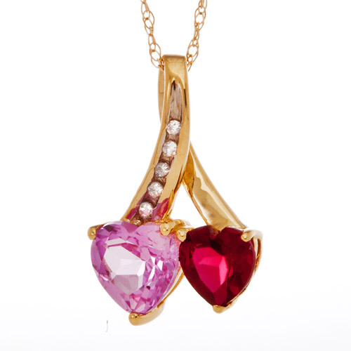 .95 Carat T.G.W. Lab Pink Sapphire and .60 Carat T.G.W. Lab Ruby with Diamond Accent 10kt Yellow Gold Heart Pendant, 18""