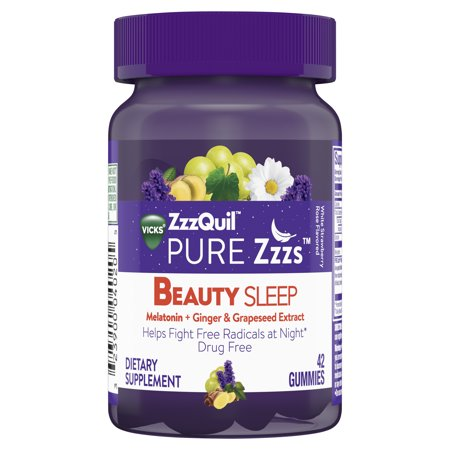 Vicks ZzzQuil PURE Zzzs Beauty Sleep Melatonin Sleep Aid w/ Ginger, Grape Seed Extract, Chamomile, Lavender & Valerian Root, 1mg per gummy, 42 gummies (Beauty Oil Grape Seed)