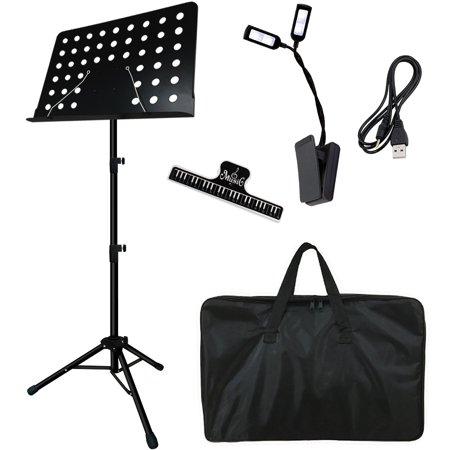 Music Stand, Kasonic Professional Collapsible Music Stand for Music Sheet, Instrument Books with LED light, Paper Holder and Carrying Bag Perfect for Instrumental (Music Holder)