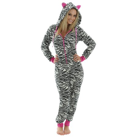 0dd138653433 Womens Zip Up Onesie Pajamas Black White Zebra Print 1 Piece Hooded Fleece  PJs
