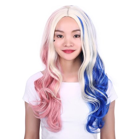 HDE Blonde Wig with Blue and Pink Colored Highlights and Streaks Curly  Cosplay Halloween Adult Sized Party Harley Wig - Walmart.com c6a6bf65f03e