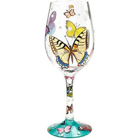 Lolita by Enesco Butterfly Wishes Wine - Multi Colored Wine Glasses