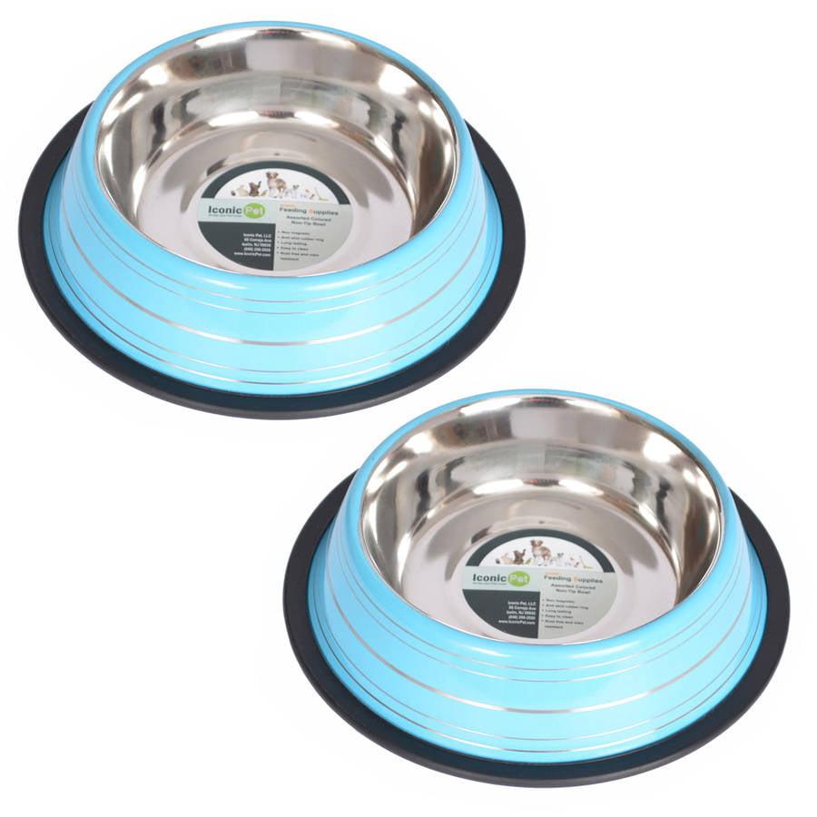 2-Pack Color Splash Stripe Non-Skid Pet Bowl, For Dog or Cat, Blue, 8 Oz, 1 Cup