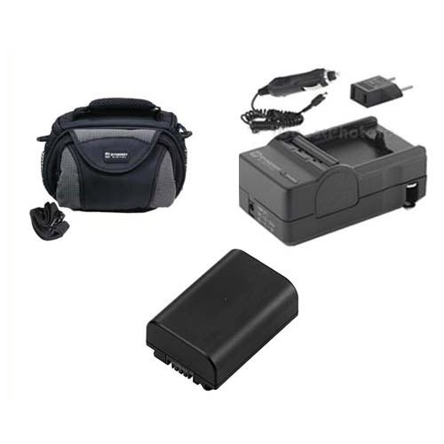 Sony HDR-PJ200 Camcorder Accessory Kit includes: SDM-109 Charger, SDC-26 Case, SDNPFV50NEW Battery