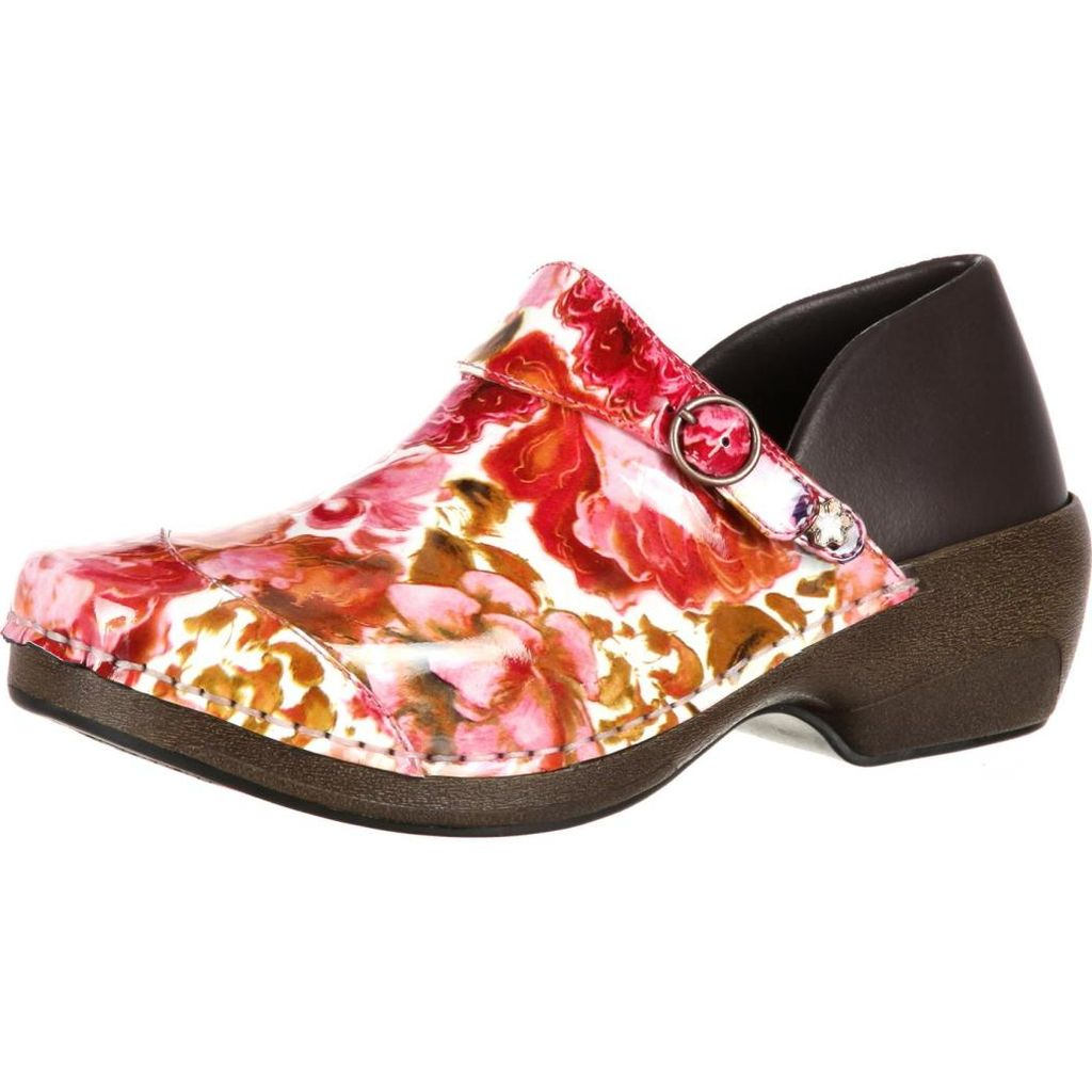 4EurSole Work Shoes Womens Patent Print Memory Clog Rose RKH053