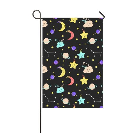 YUSDECOR Cute Clouds Moon Planets Stars Garden Flag Outdoor Flag 12x18 inch - image 1 of 1