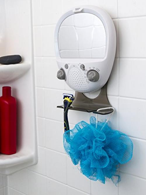 Sharper Image Shower Radio   FM And AM Radio   Anti Fog Mirror And LED