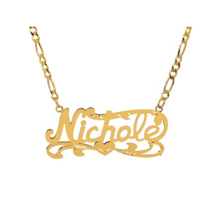 - Personalized 10K Yellow Gold Diamond Cut Nameplate Necklace with an 18 inch Gold Filled Figaro Chain