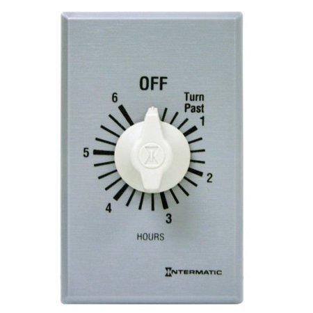 Intermatic FF6H 6-Hour Spring Loaded Wall Timer, Plastic with Brushed Metal Effect