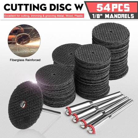 50pcs Cut Off Wheel Disc Fiberglass Reinforced W/ 2 Mandrel Tool For For Dremel Rotary Abrasive Cutting Tools with 4 Mandrels Diamond Black Painted Wheels