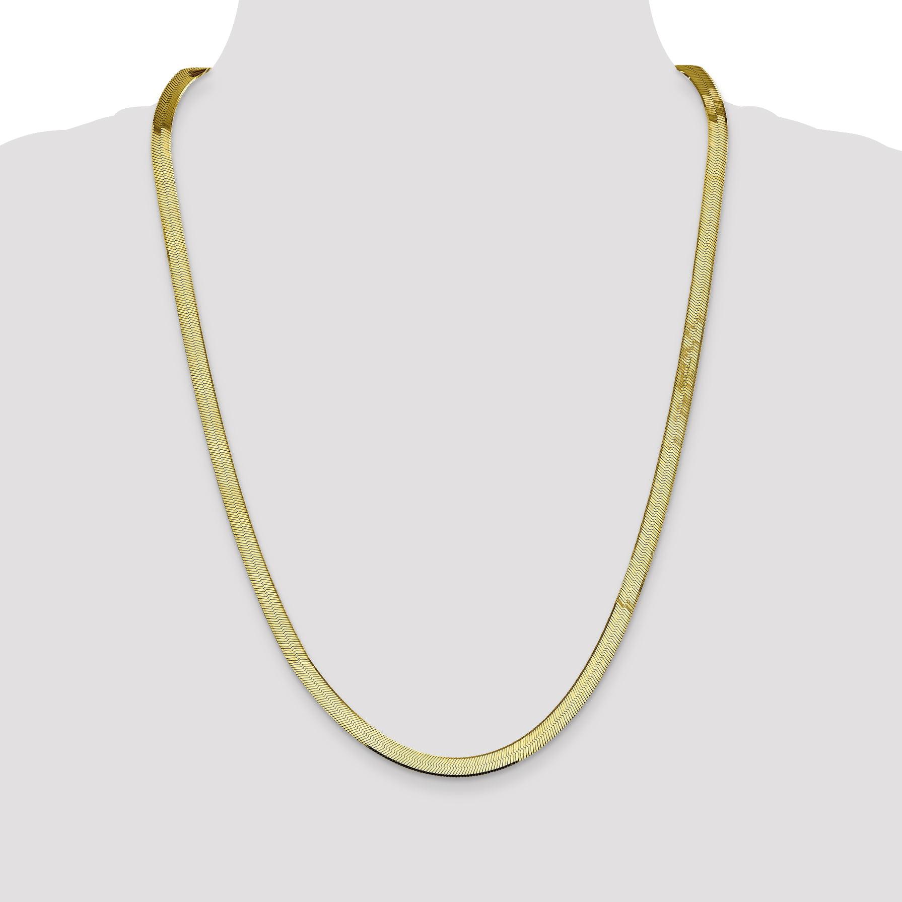 10K Yellow Gold 5.5mm Silky Herringbone Chain 16 Inch - image 4 of 5