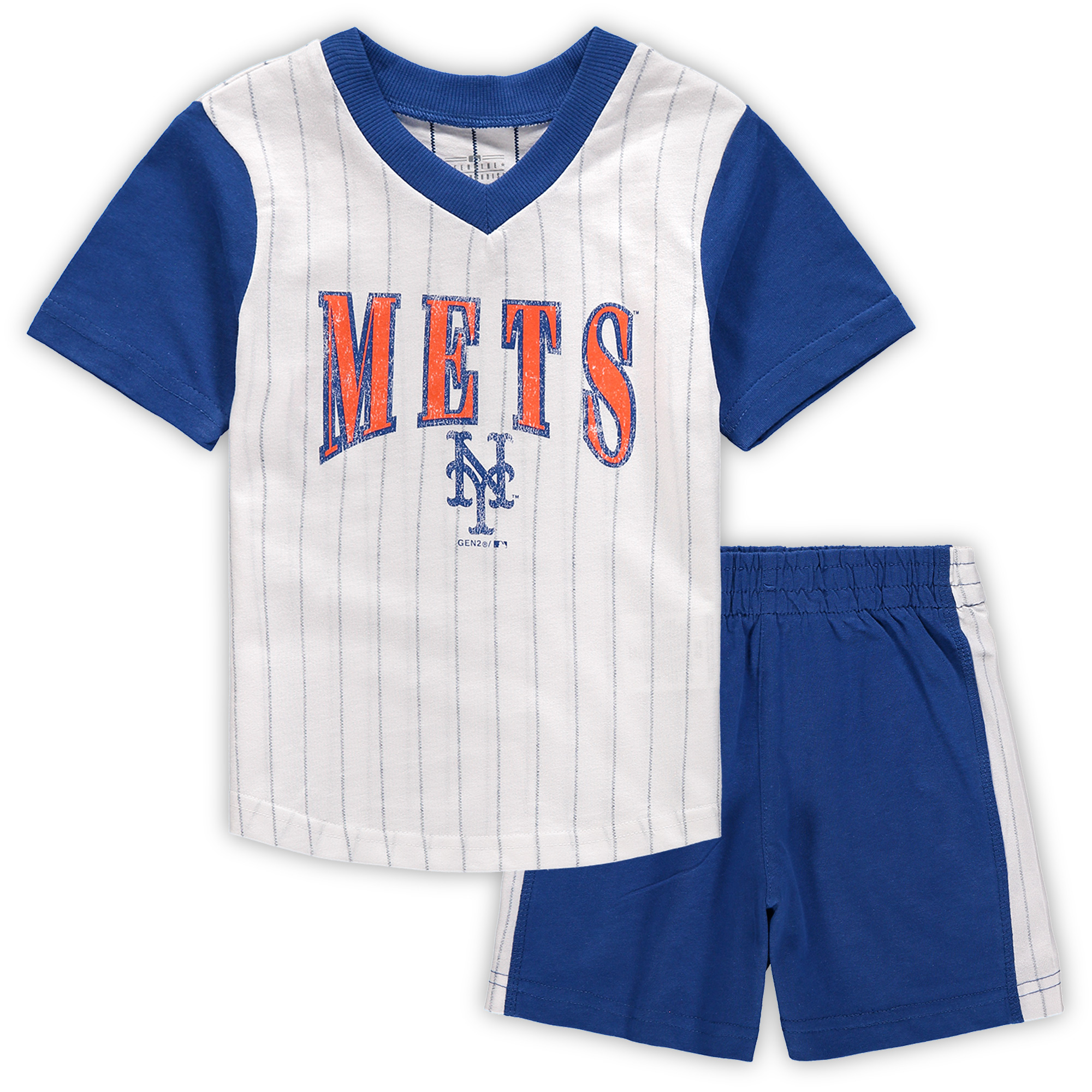New York Mets Toddler Little Hitter V-Neck T-Shirt & Shorts Set - White/Royal