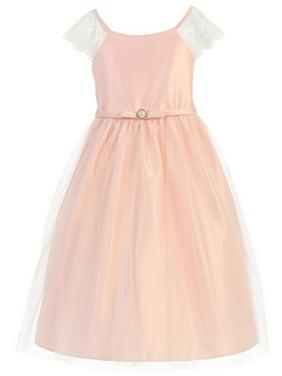 79b30cb59d07 Product Image Sweet Kids Little Girls Petal Pink Lace Sleeve Broach Flower  Girl Dress 5