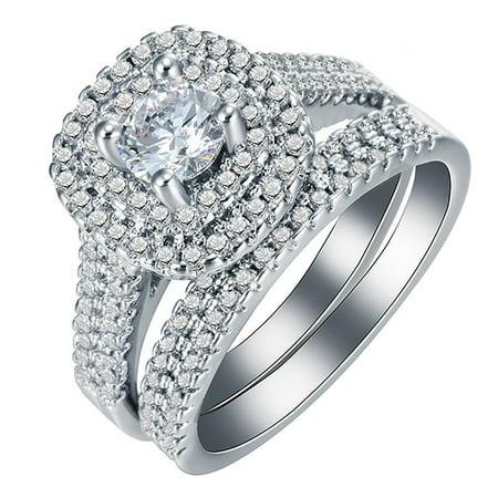 Gorgeous Wedding Rings - Monika Gorgeous Bridal Wedding Ring Set- Ginger Lyne Collection