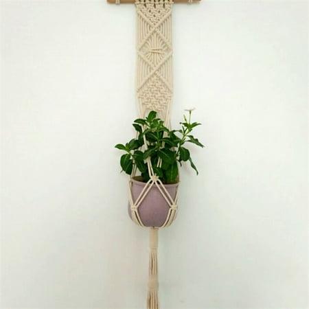 - Handmade Weave Rope Plants Hanger Indoor Outdoor Hanging Planter Flowerpot Holder Color:Wood stick Size:85 cm (4 strands of cotton rope)