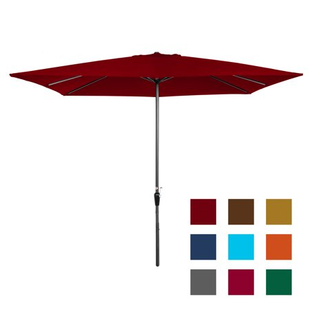 Best Choice Products 8x11ft Rectangular Patio Market Umbrella with Rust-Resistant Frame, Hand Crank, Fade-Resistant 210G Polyester Fabric, and Wind Vent, Brick
