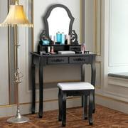 Costway Vanity Makeup Dressing Set Table Jewelry Wooden Stool Mirror & 4 Drawer Black