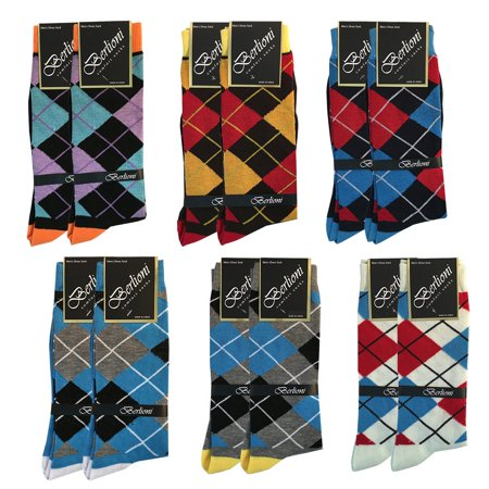 Pack of 12 Men's Premium Cotton Fashion Casual Mid Calf Patterned Dress Socks (Argyle Pack, 10-13) ()