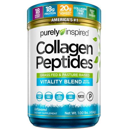 Purely Inpsired Collagen Protein Powder, Grass Fed & Pasture Raised Collagen Peptides, Unflavored, 23 Servings (1lbs)