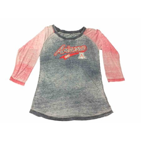 Arizona Wildcats Colosseum Womens Washed Out Navy   Red 3 4 Sleeve T Shirt  M