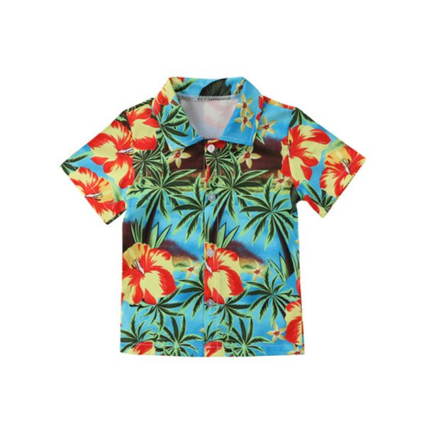 Toddler Baby Boy Hawaiian Shirt Flowers Print Button Down Shirts Tops