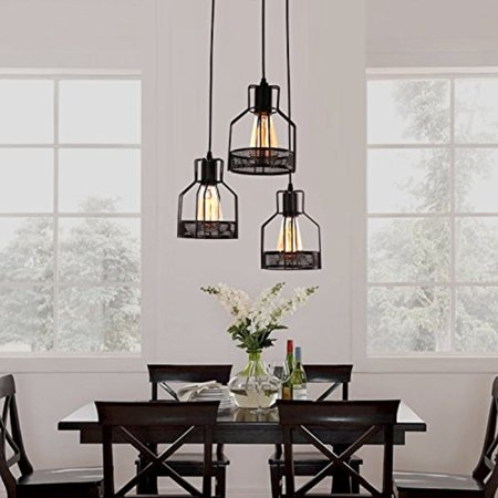 Rustic Black Metal Cage Shade Dining Room Pendant Light with 3