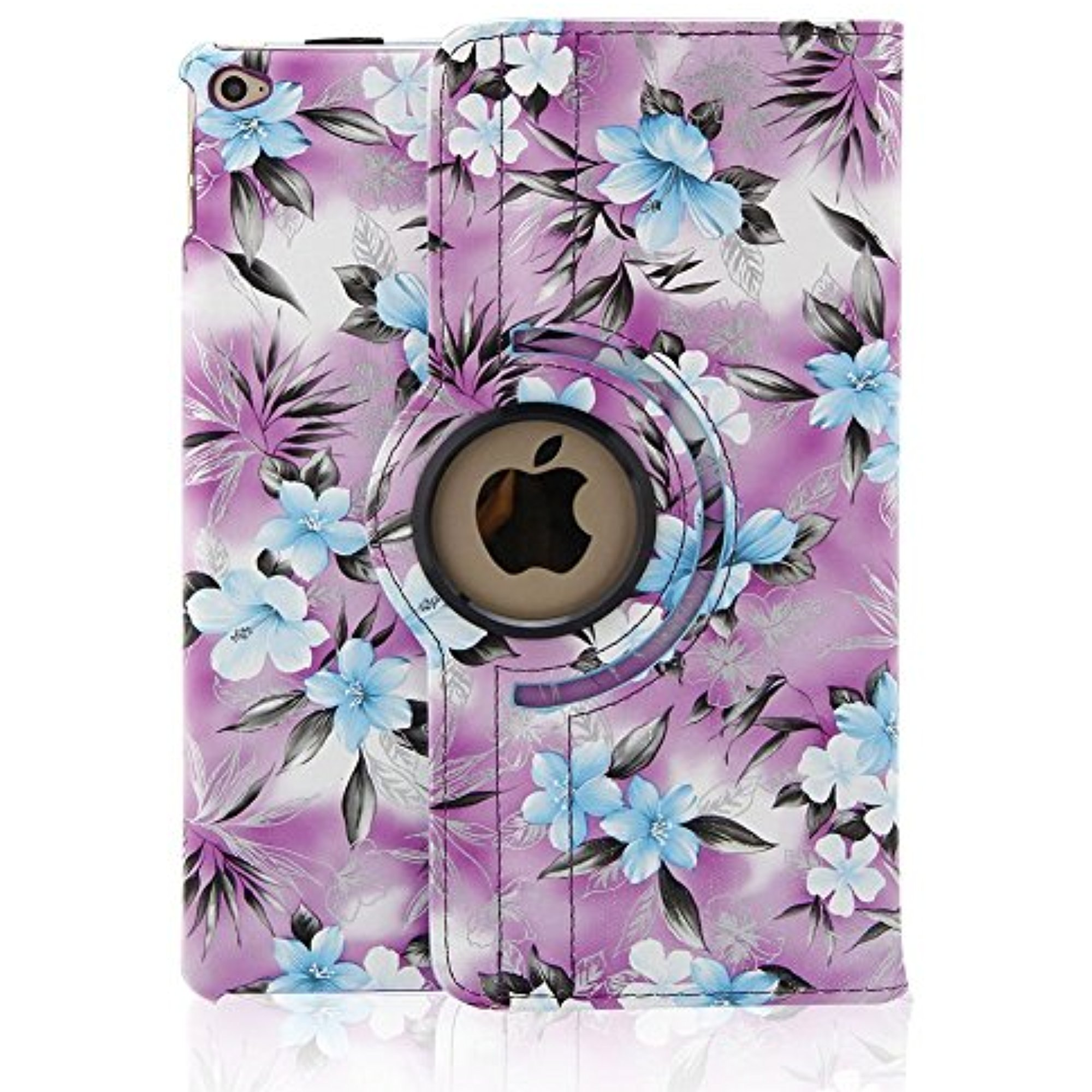 Eleoption iPad Pro 9.7 Case - ProCase Leather 360 Degree Rotating Stand Case Cover for Apple iPad Pro 9.7 Inch Case Support Smart Cover Open/Wake Function(Purple Camellia Floral Pattern)