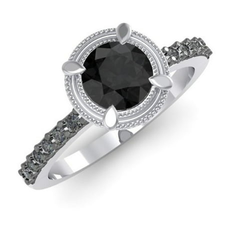 1.15 Carat (ctw) 14K White Gold Round Black Diamond Bridal Solitaire With Accents Engagement -