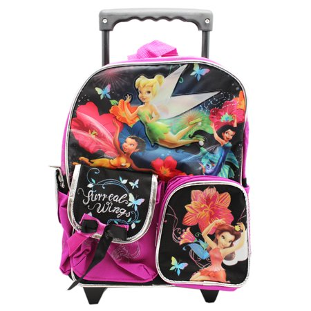 Disney Fairies Surreal Wings Black/Magenta Preschool Rolling Backpack - Pilot Wings Backpack