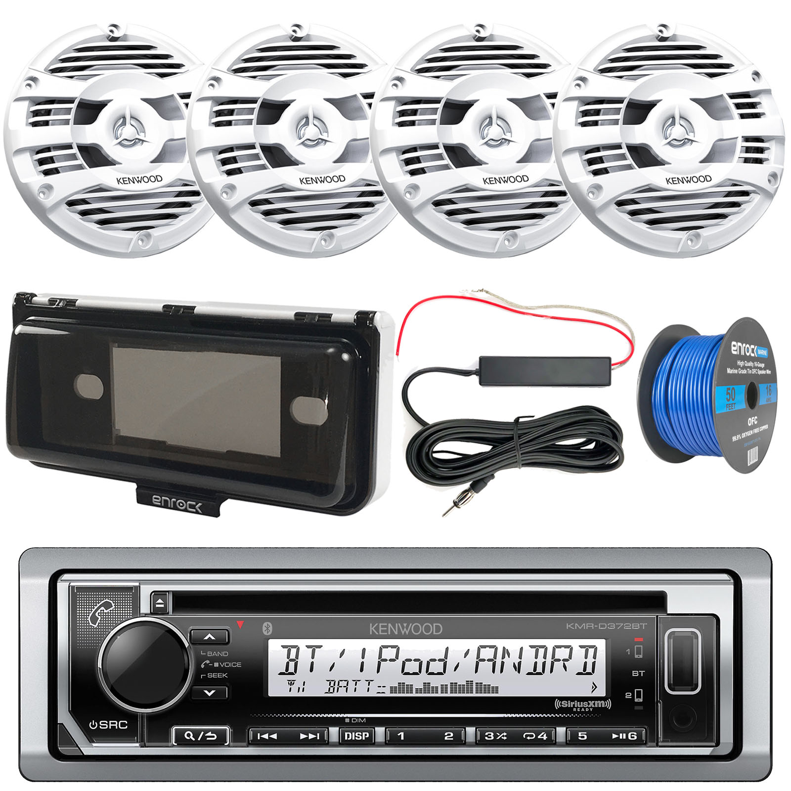 "Bay Boat Audio Package: Kenwood KMRD372BT Marine CD Bluetooth Receiver, 4x Kenwood KFC1653MRW 6.5"" 2 Way Marine Speakers (White), Radio Cover, 12 Volt Amp Booster Kit, 50 Foot 16-G Tinned Speaker Wire"