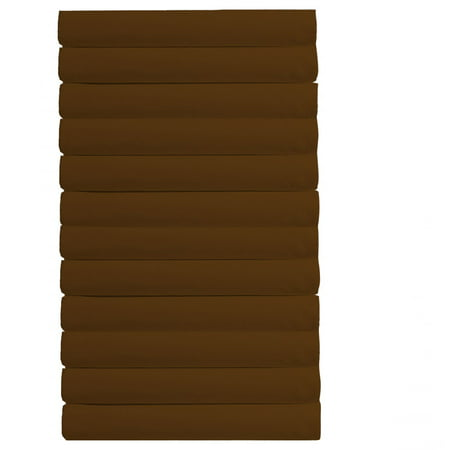 Pack of 12 - Flat Sheet (King Size, Solid Chocolate) 650-Thread-Count 100% Natural Cotton - (Available in Bulk/Dozen) Best for Hotel, SPA, Hospitals - Wrinkle, Fade and Stain Resistant