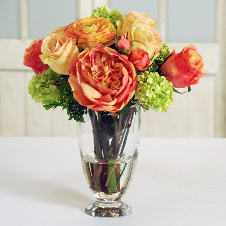 Jane Seymour Botanicals 14 in. Roses and Ranunculus Bouquet with Glass Vase Silk Flower Arrangement