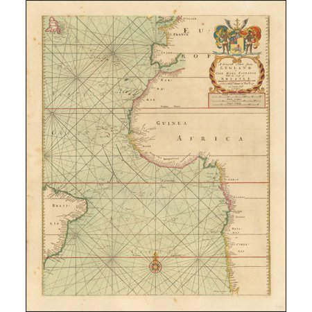LAMINATED POSTER A Generall Chart from England to Cape Bona Espranca With the Coast of Brasile Sold by Willm. Mount and Thos. Page on Tower Hill London. POSTER PRINT 24 x 36](Garnet Hill Size Chart)