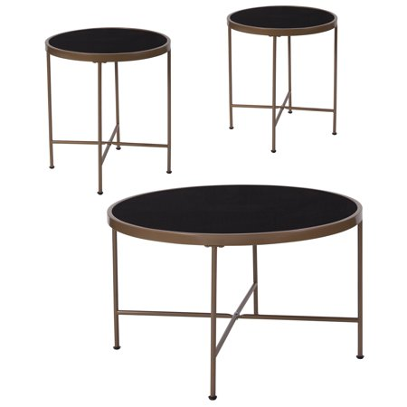 Chelsea White Coffee - Chelsea Collection Flash Furniture 3 Piece Coffee and End Table Set with Black Glass Tops and Matte Gold Frames