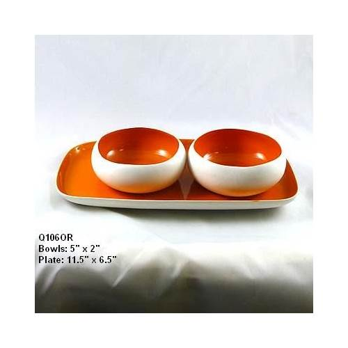 Ceramic Bowls and Plate in Orange - Set of 4