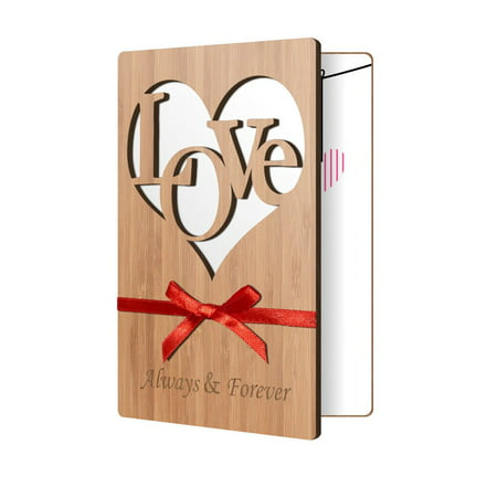 Anniversary Card For Wife, Or Husband: Love Greeting Cards Handmade in Real Wood For Him/Her, Perfect Way To Say I Love You, Happy Birthday, Valentines Day, Just