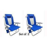 Outdoor Spectator Multi-Position Flat Folding Beach Chair (2-Pack) Blue