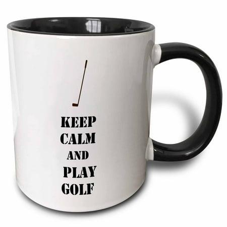 3dRose Keep Calm and Play Golf sports theme - Two Tone Black Mug, 11-ounce](Golf Theme)